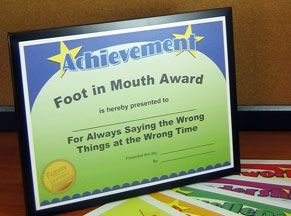 award foot in mouth a